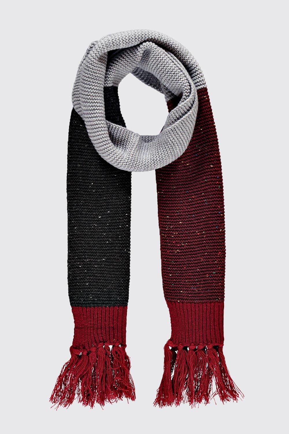 Colour Block Fringed Scarf