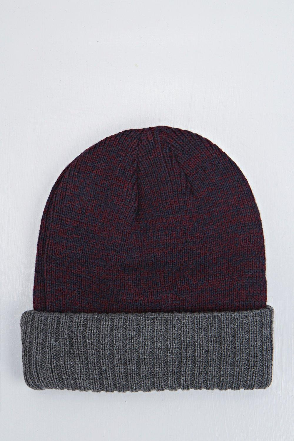 Marl Beanie with Contrast Turn Up