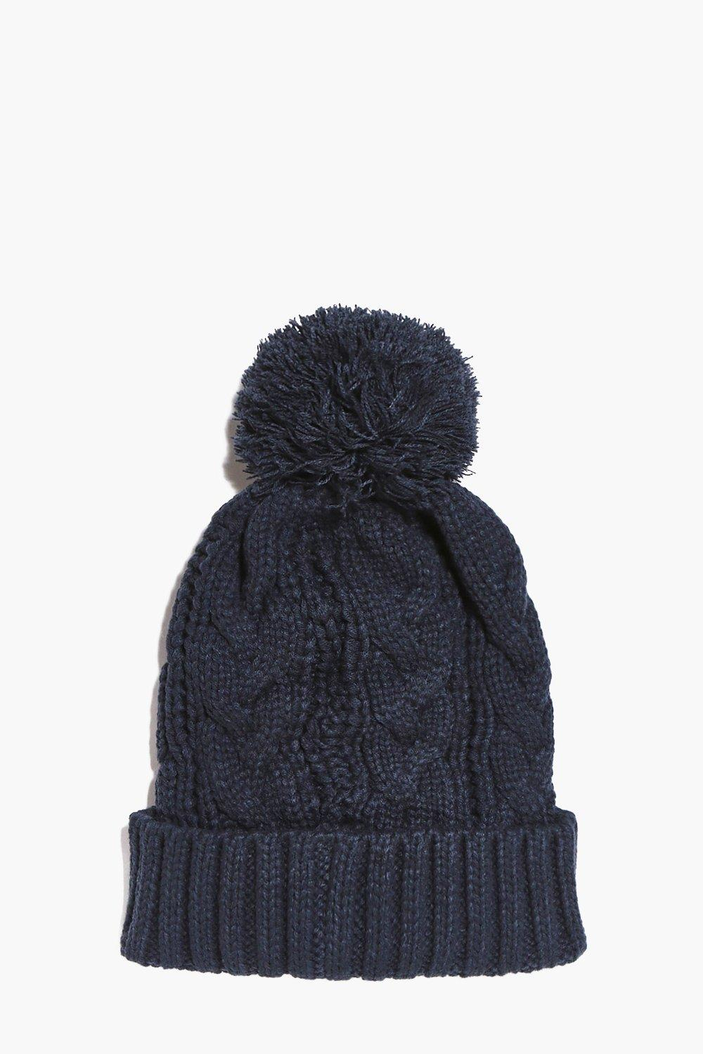 Cable Knit Bobble Beanie