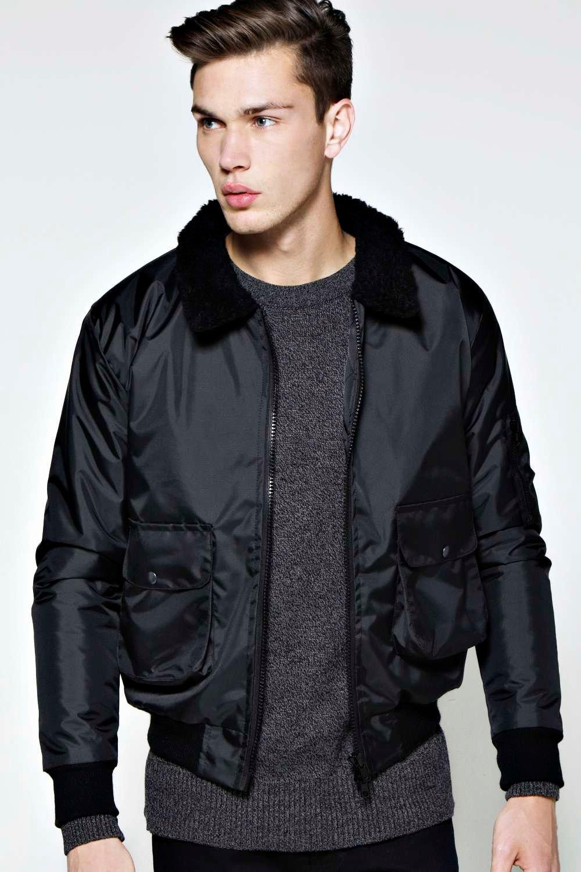 Collared Bomber Jacket - Coat Nj