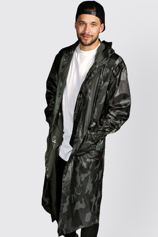 Longline Camo Waterproof Jacket at boohoo.com