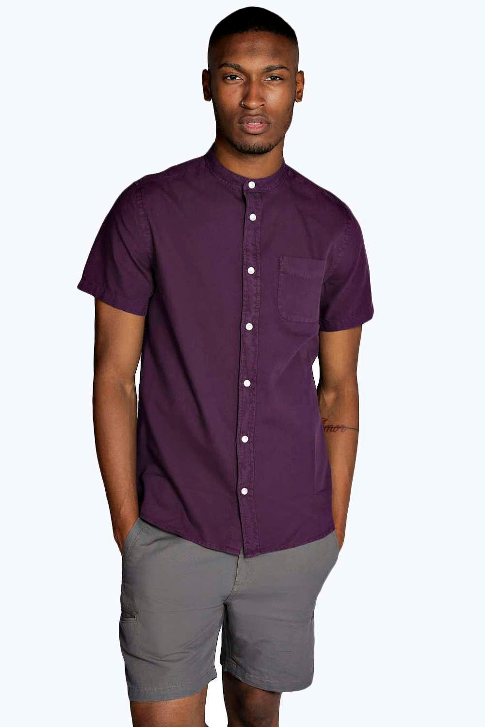 Short sleeve grandad neck oxford shirt at for Short sleeve grandad shirt