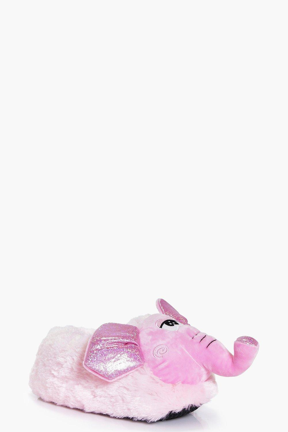 Grace Pink Fleece Novelty Elephant Slipper