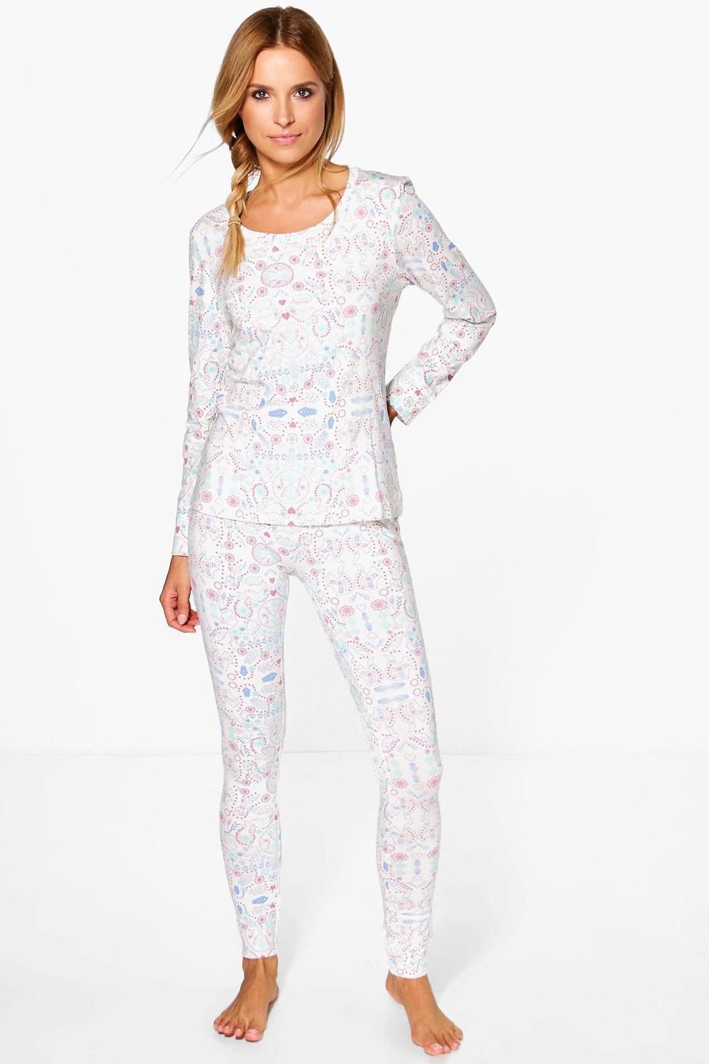 Ava Nordic Print Long Sleeve Legging PJ Set
