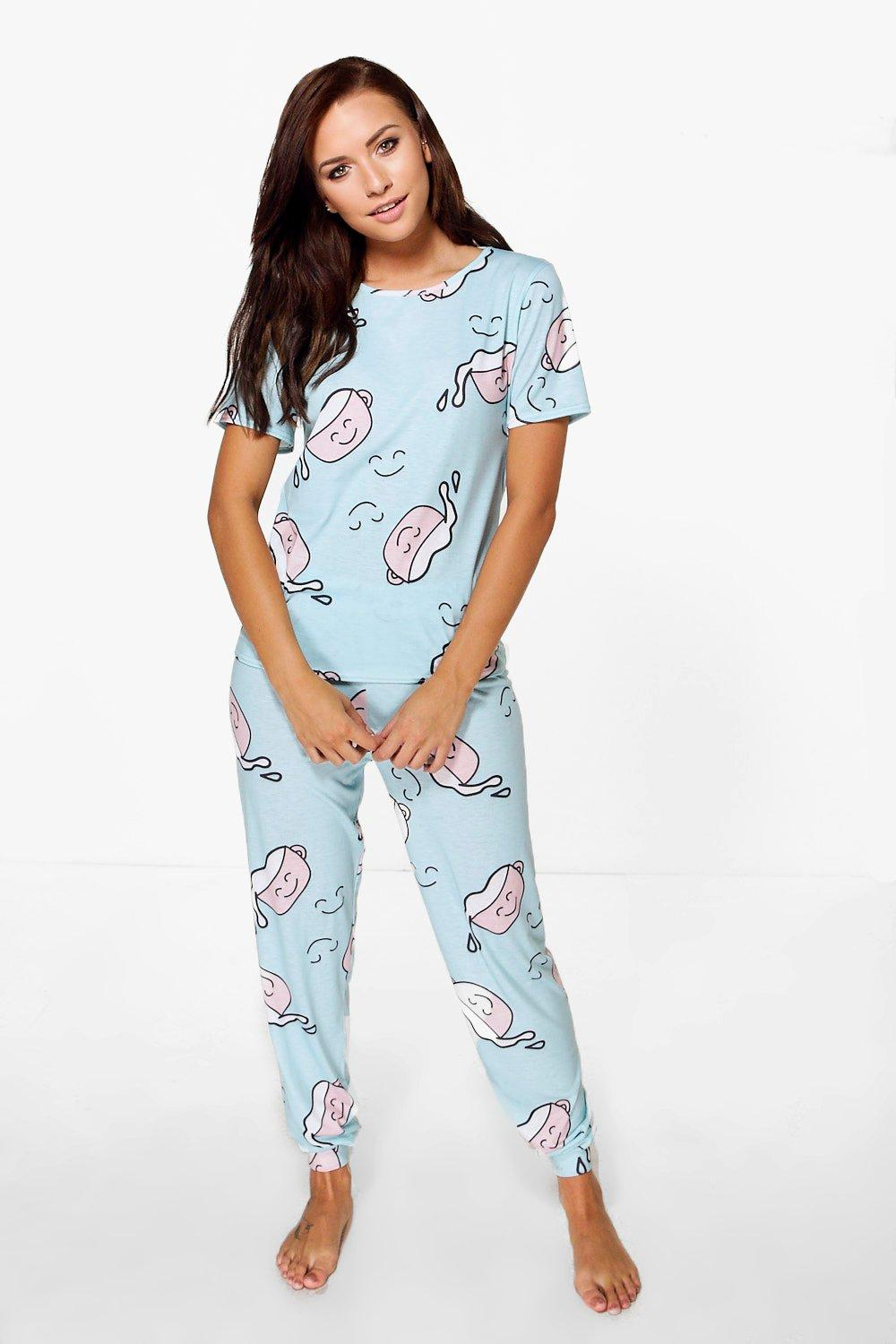 Neve Coffee Print Slim Jogger And Tshirt PJ Set