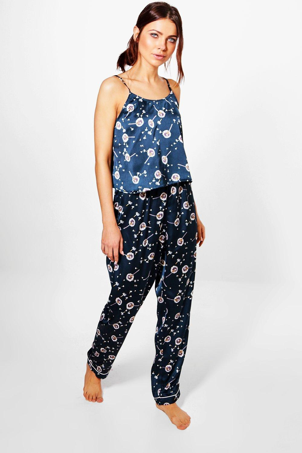 Skye Satin Dandelion Print Vest And Trouser PJ Set