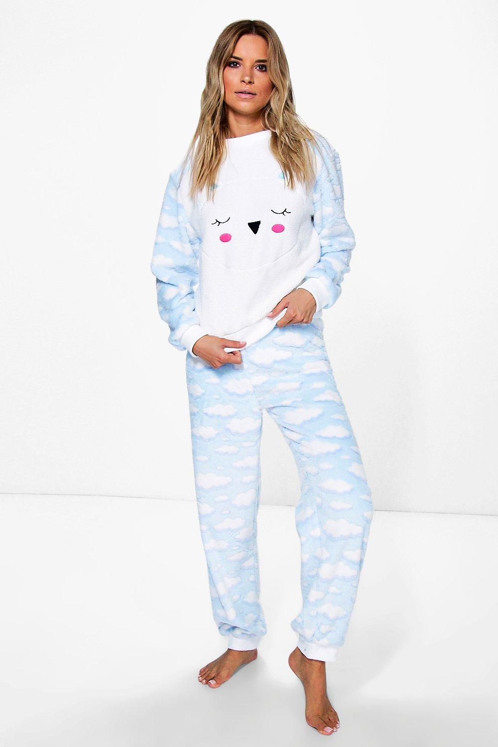 Nancy Cloud Print Fleece Trouser PJ Set