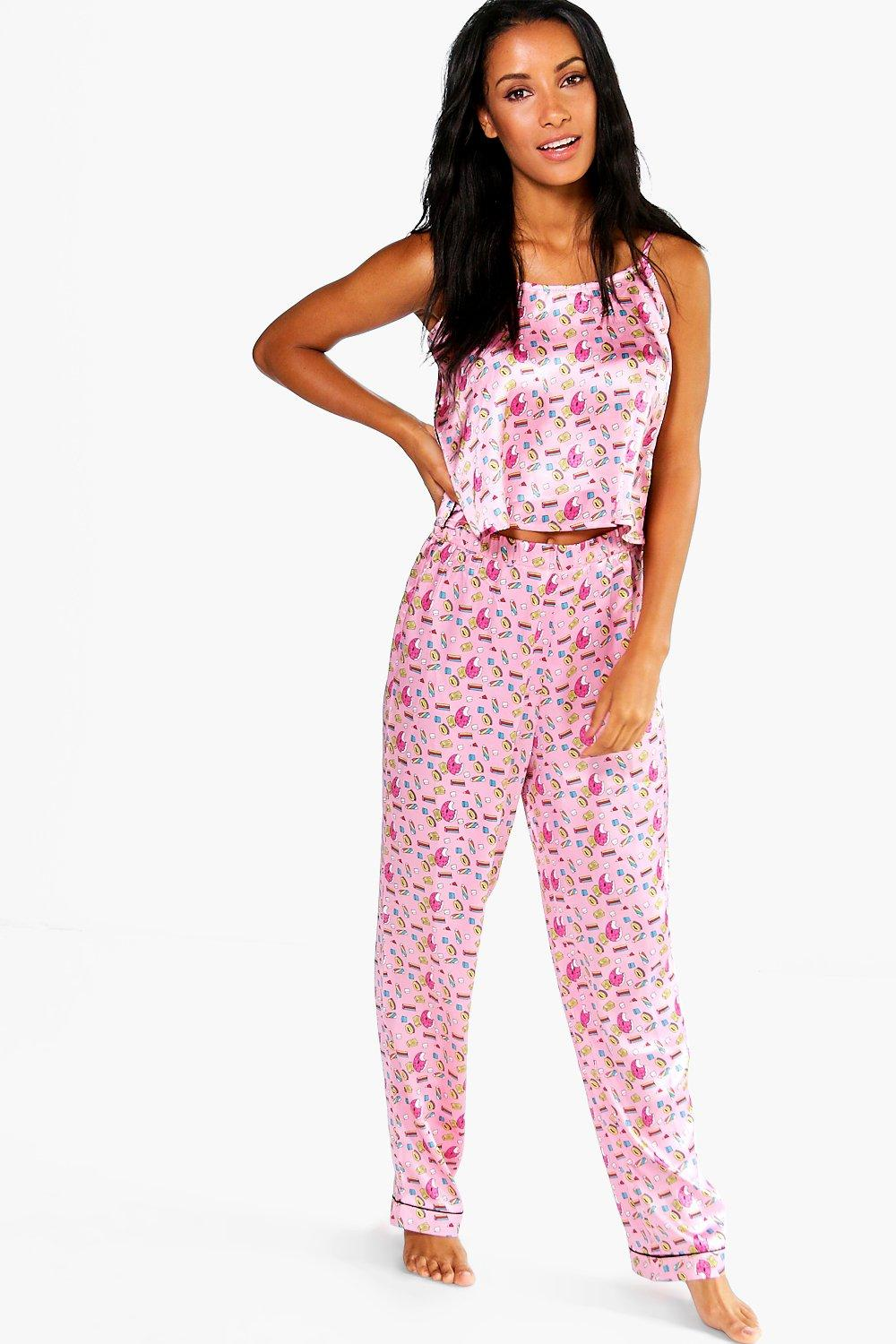 Lola Kitsch Print Satin Vest + Trouser Set