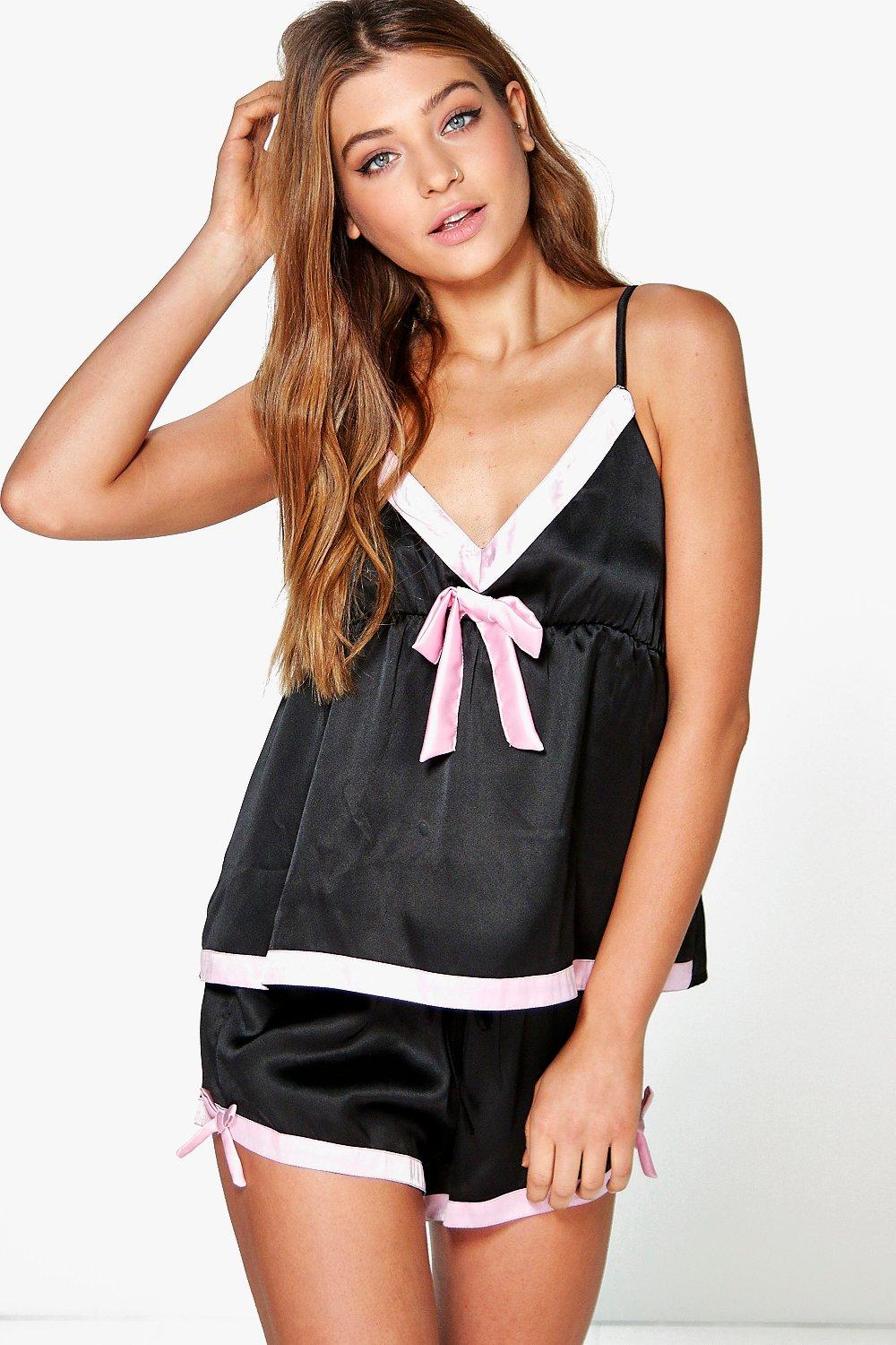 Rachel Contrast Trim Bow Satin Vest And Short Set