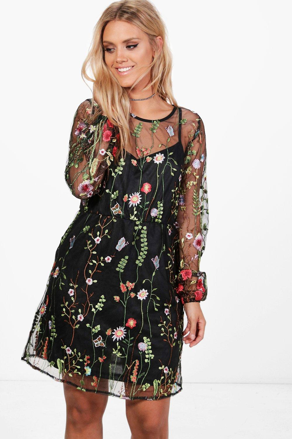 Plus Alice Embroidered Skater Dress