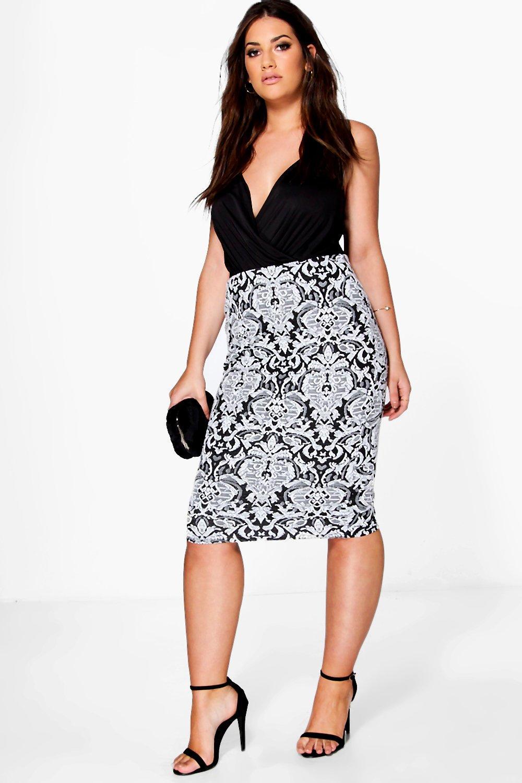 Plus Claire Floral Jacquard Stretch Midi Skirt at boohoo.com