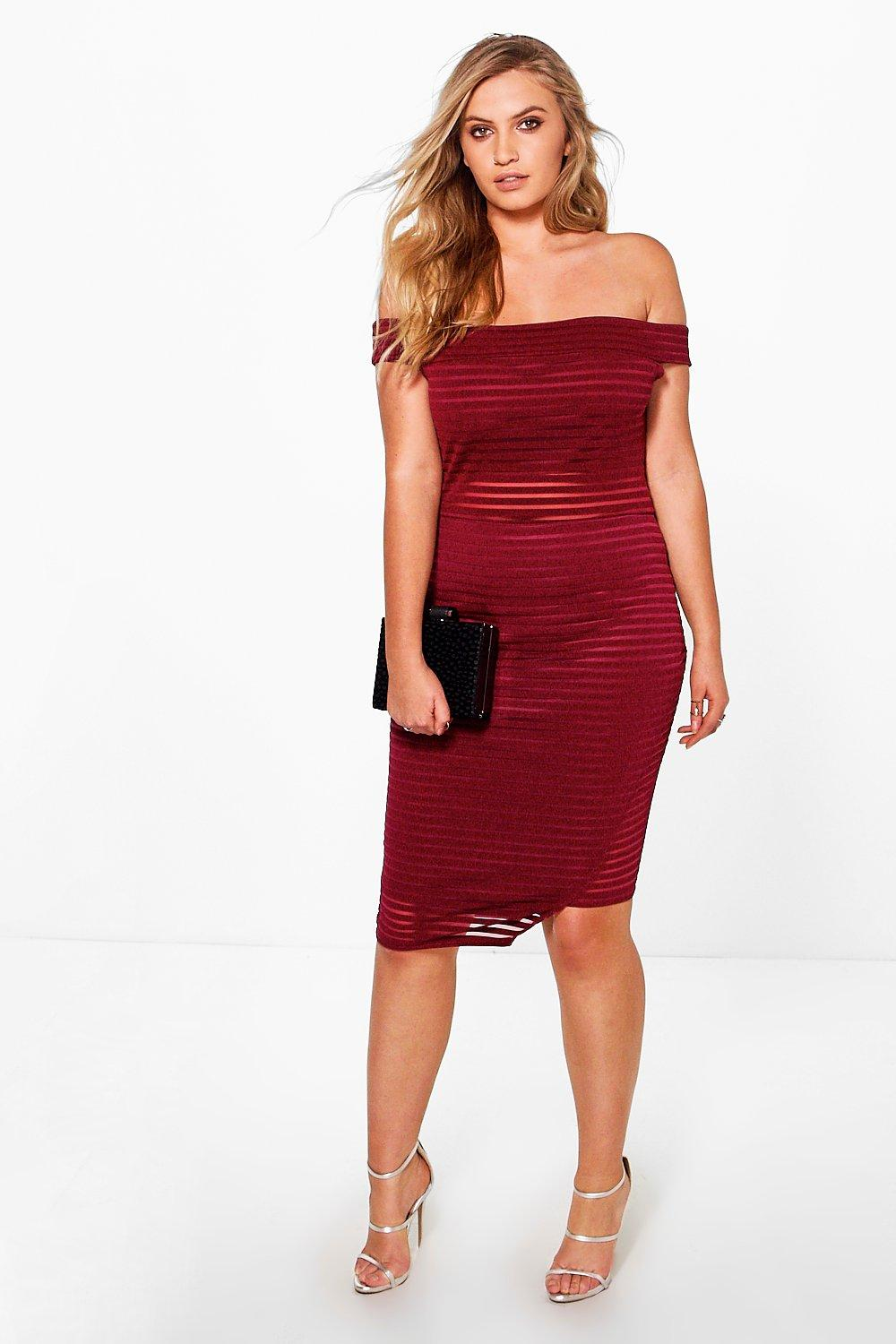 Plus Jenni Bardot Burnout Bodycon Dress