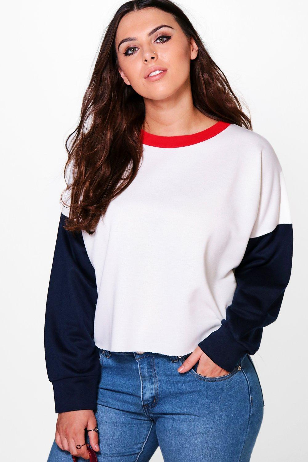 Plus Harriet Colour Block Crop Sweat
