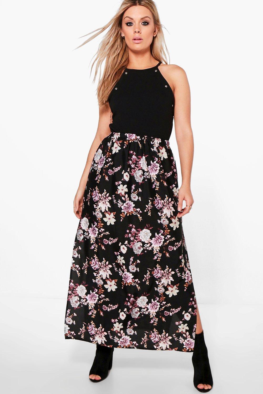 plus floral maxi skirt at boohoo