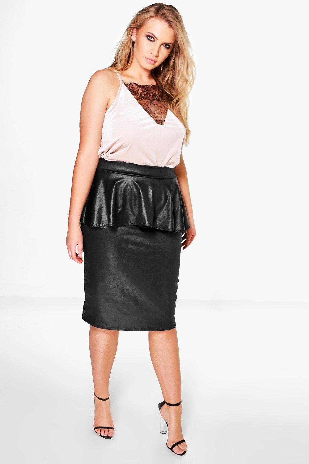 Plus Emme PU Peplum Skirt