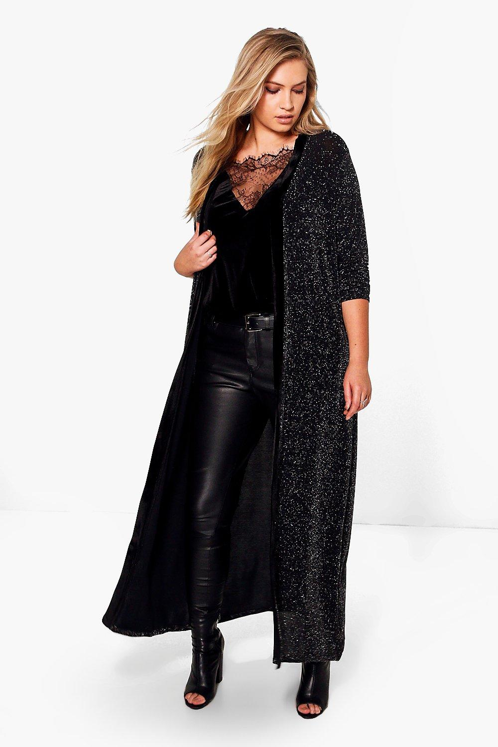 Plus Jenny Glitter Duster With Velvet Trim