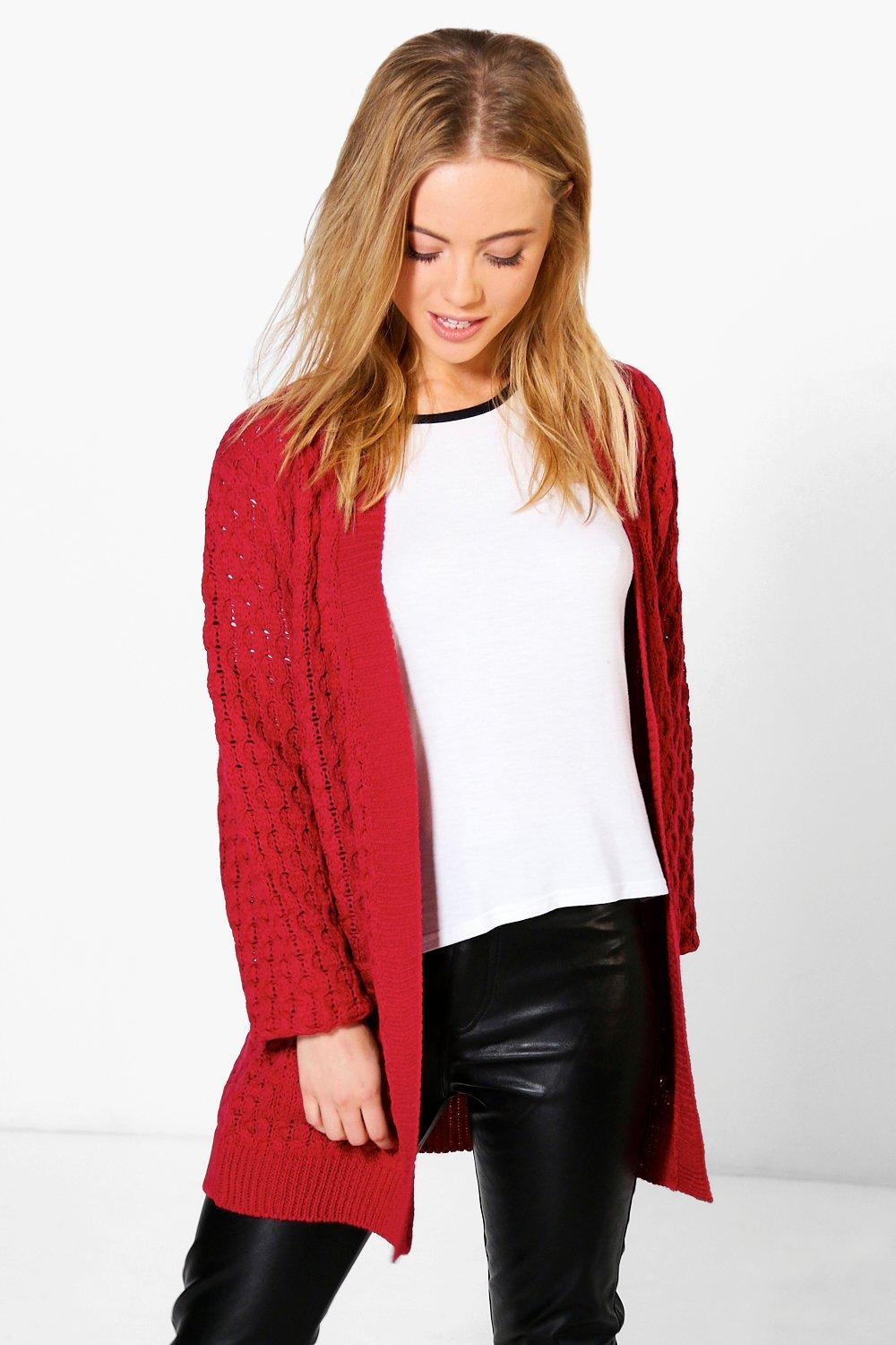 Petite Natalie Cable Knit Cardigan With Pockets