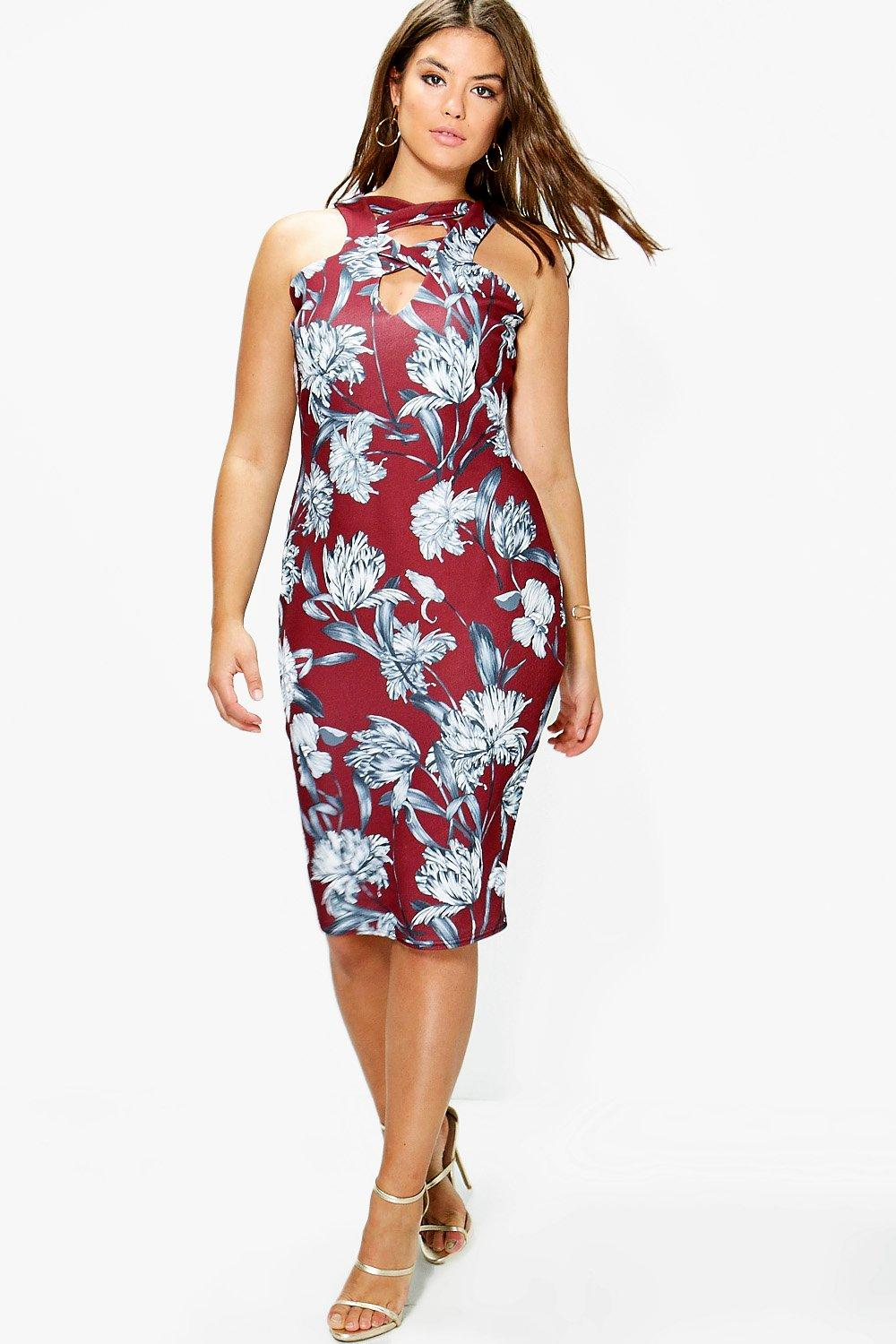 Plus Nina Floral Strap Detail Midi Dress