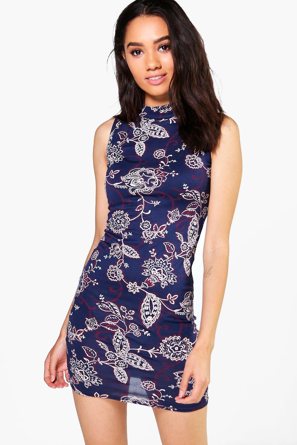 Petite Emilia Floral Turtle Neck Dress