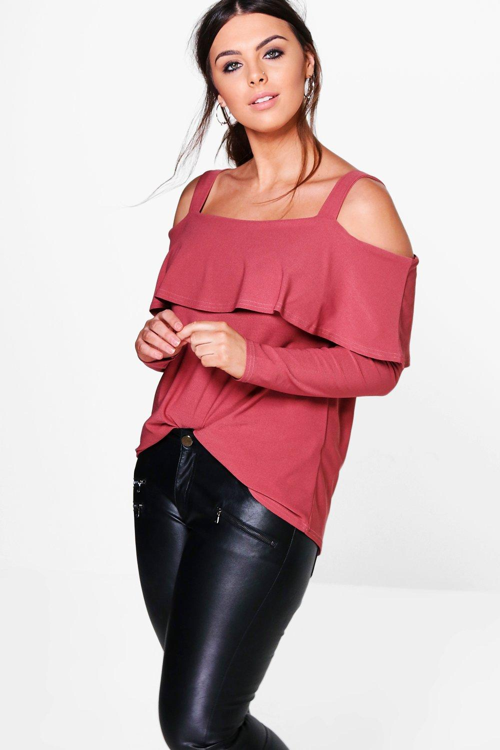 Plus Camilla Cold Shoulder Long Sleeve Frill Top