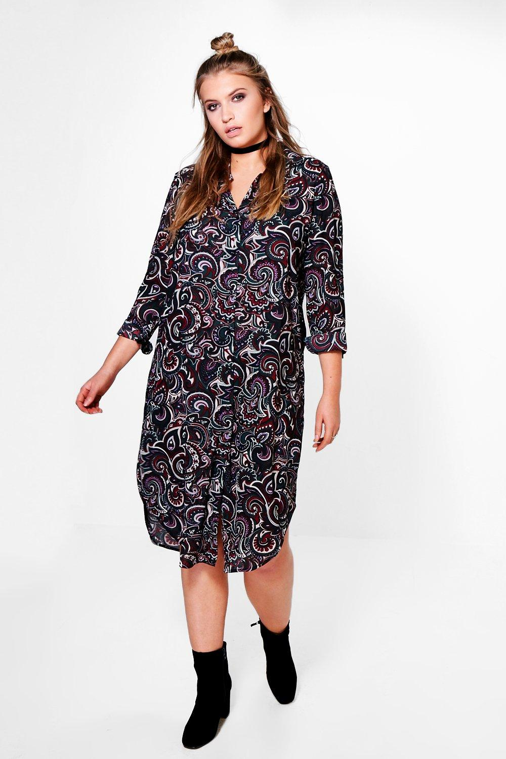 Plus Erin Paisley Longline Shirt Dress