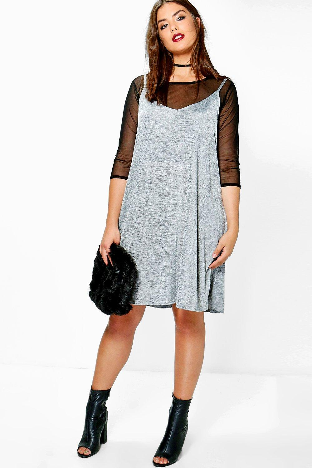 Plus Josie Mesh 2 In 1 Shimmer Swing Dress