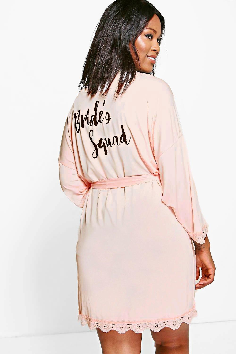 Plus Rae Bride Squad Slogan Lace Detail Bridal Robe