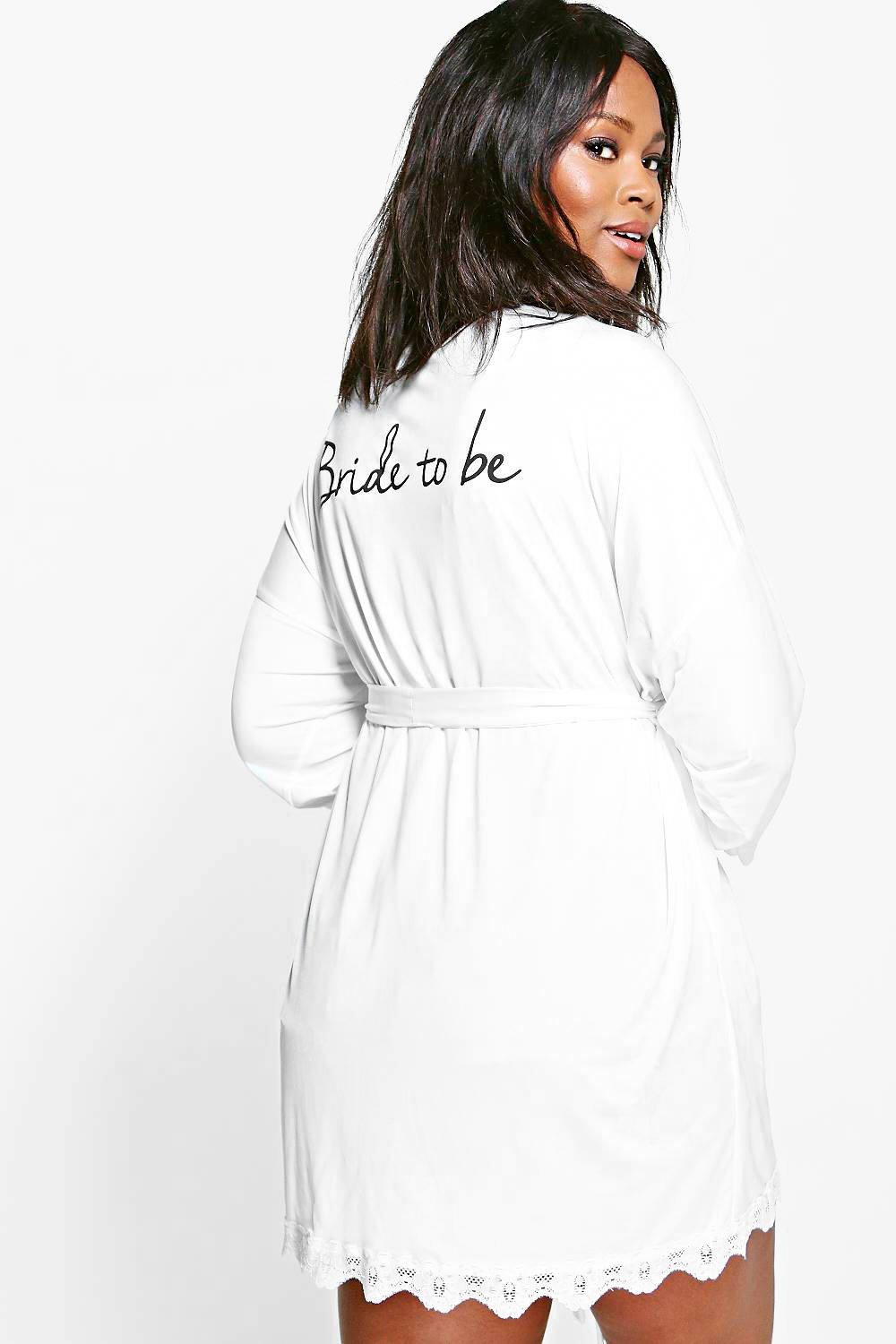 Plus Laurie Bride Slogan Slinky Robe