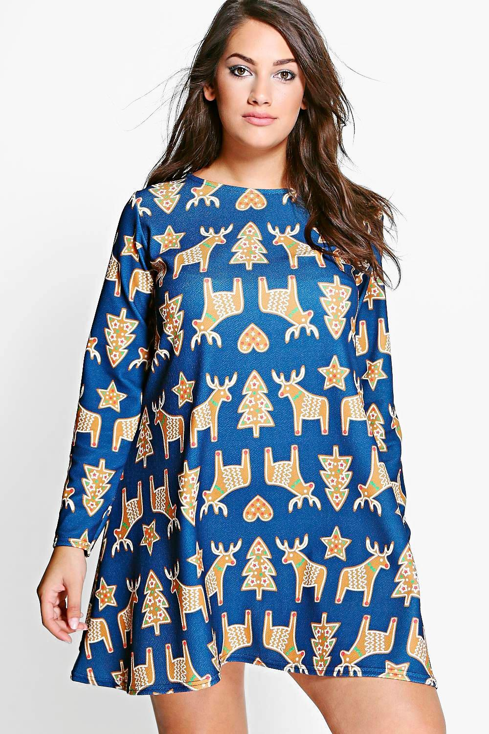 Plus Leanne Reindeer Novelty Printed Swing Dress