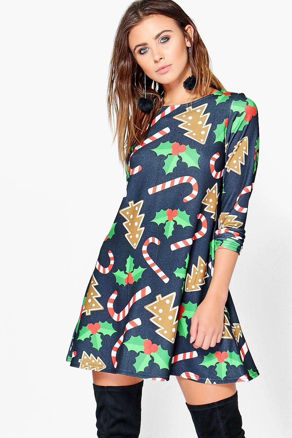 Petite Ellie Candy Cane Printed Swing Dress