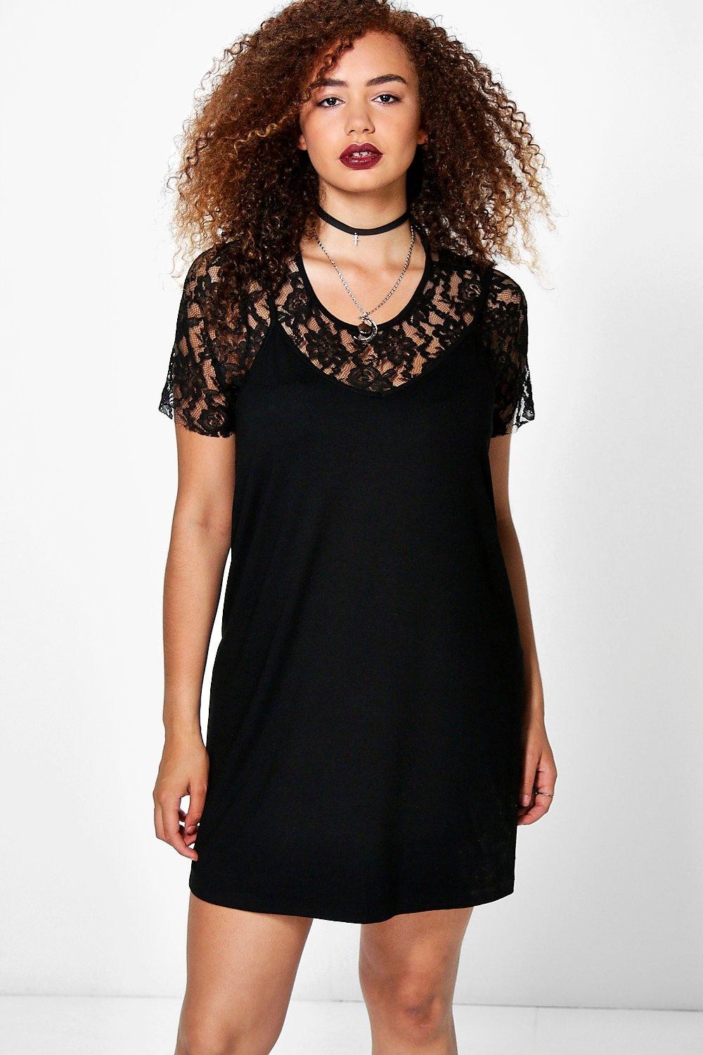 Plus Leona 2 In 1 Lace Slip Dress
