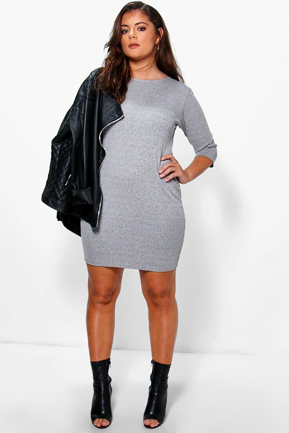 Plus Holly Ribbed Bodycon Dress