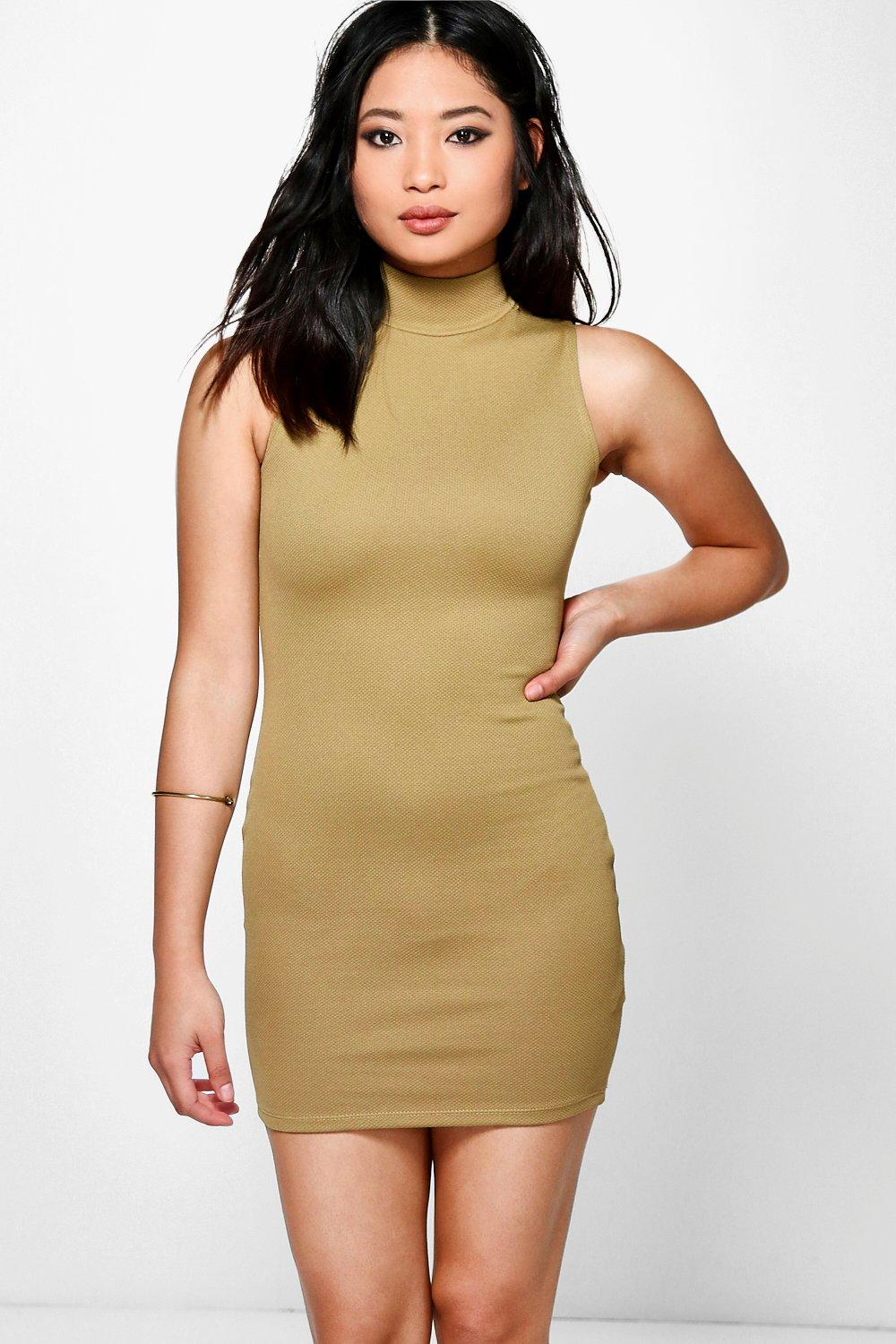 Petite Sonya High Neck Bodycon Dress