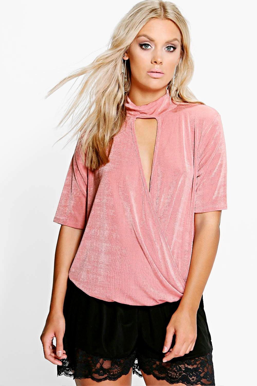 Plus Jessica High Neck Wrap Front Top
