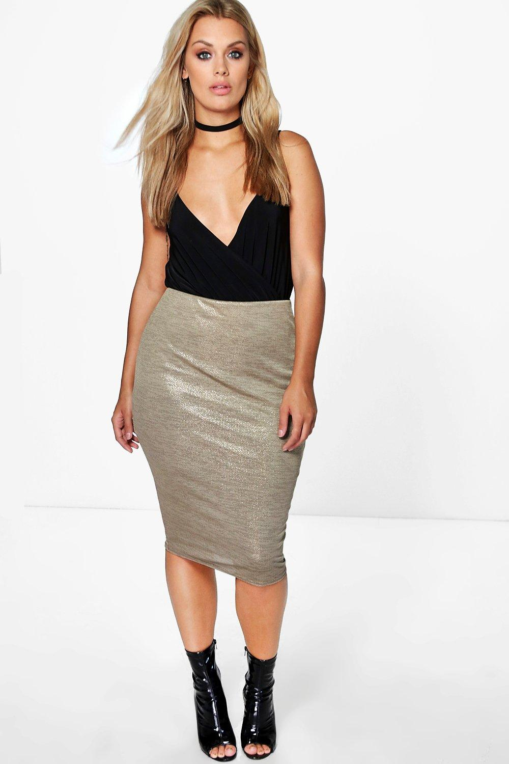 Plus Lexi Metallic Midi Skirt
