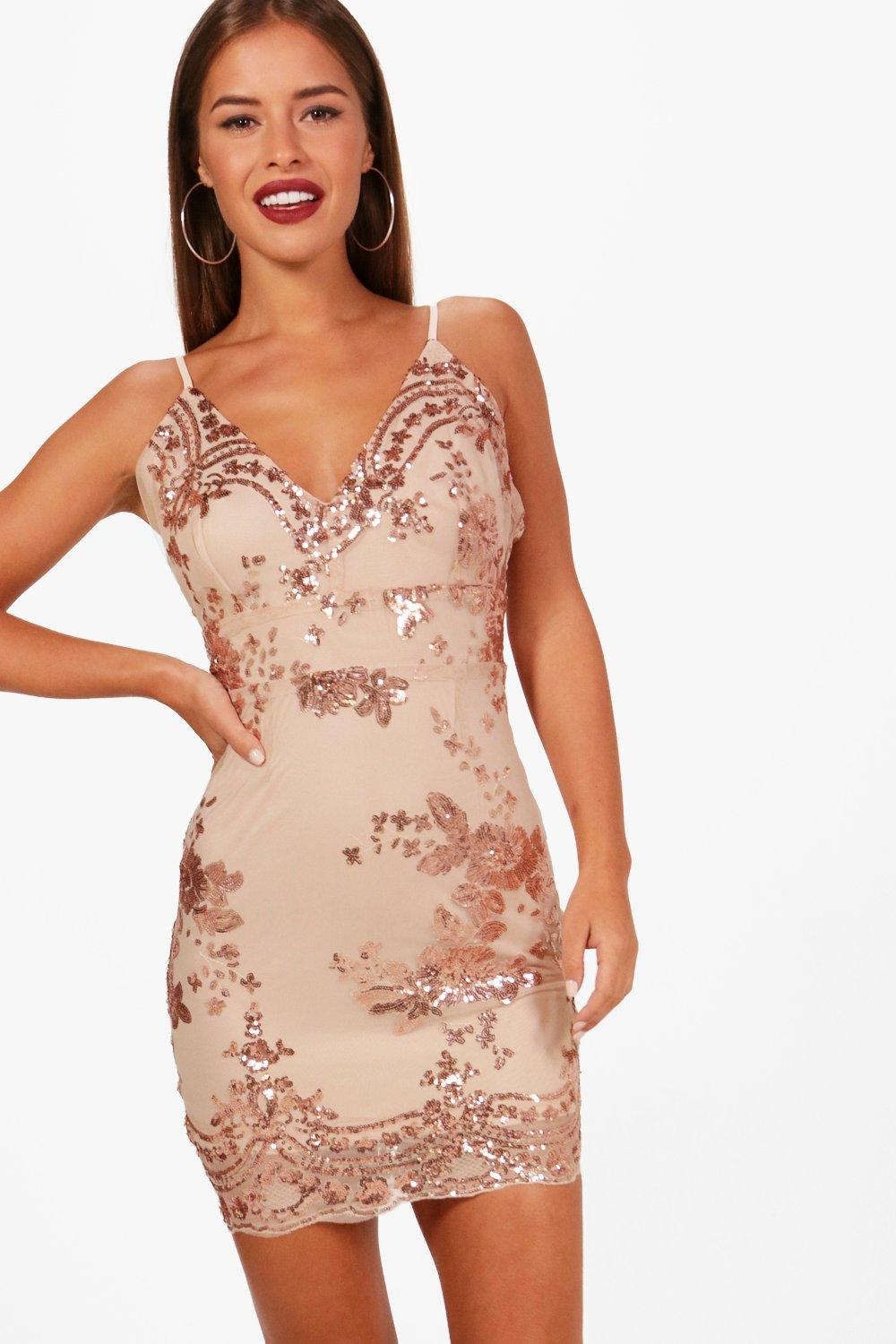Petite Liz Mesh   Sequin Bodycon Dress at boohoo.com