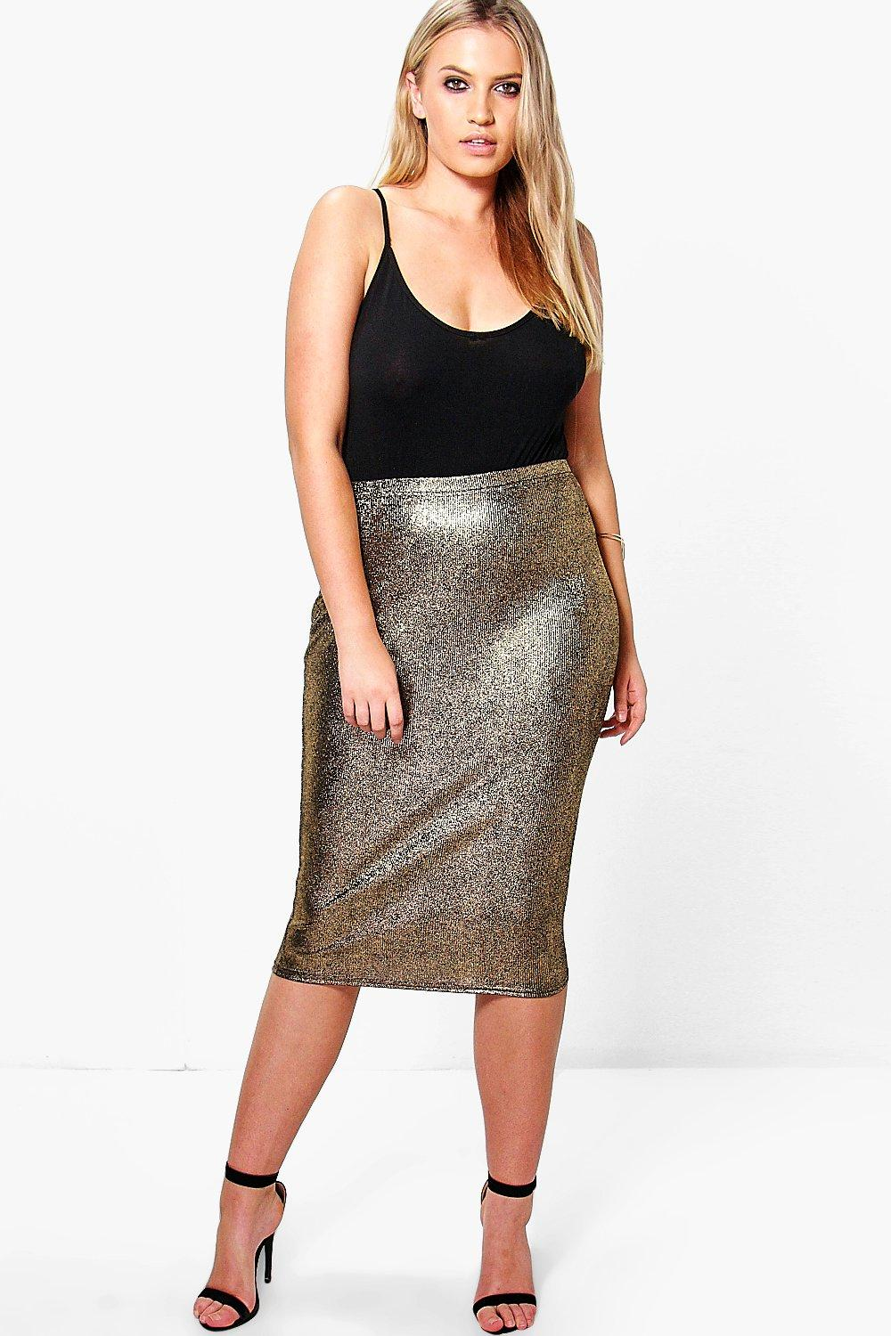 Plus Leah Metallic Rib Midi Skirt