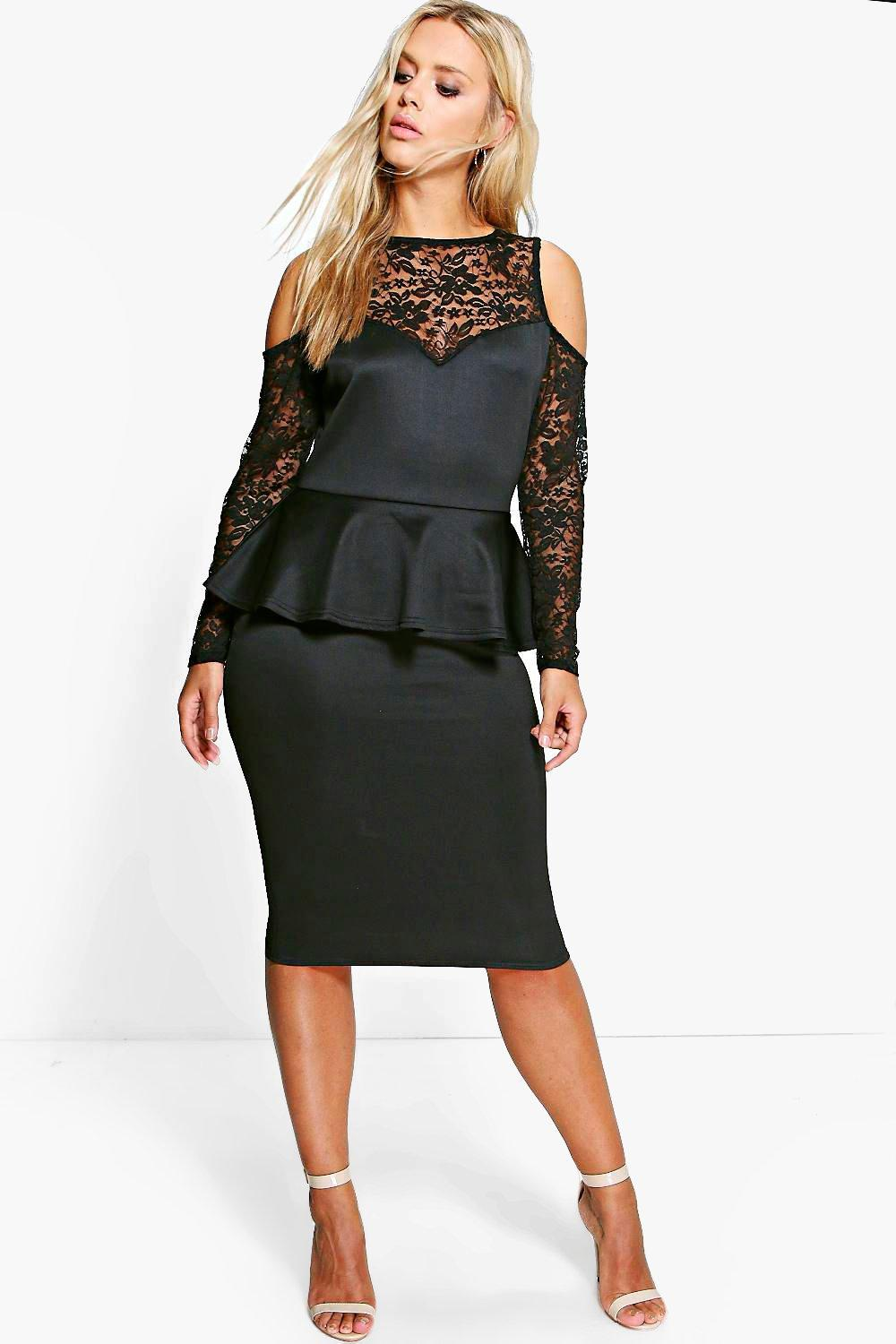 Plus Lianna Lace Detail Peplum Dress