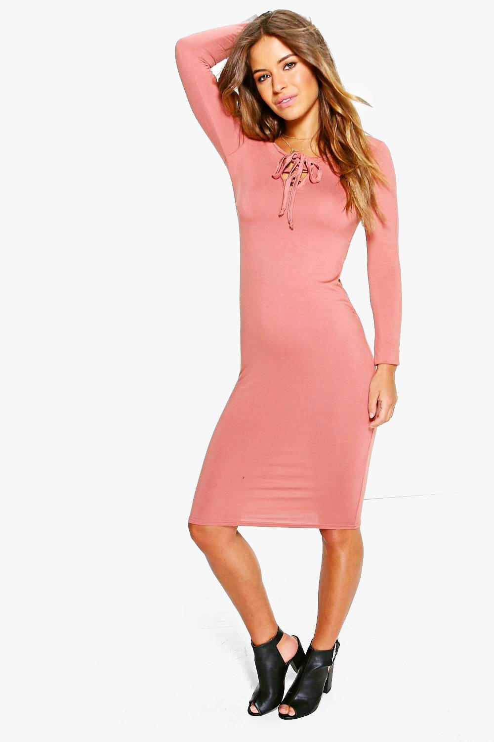 Petite Anna Long Sleeve Lace Up Midi Dress