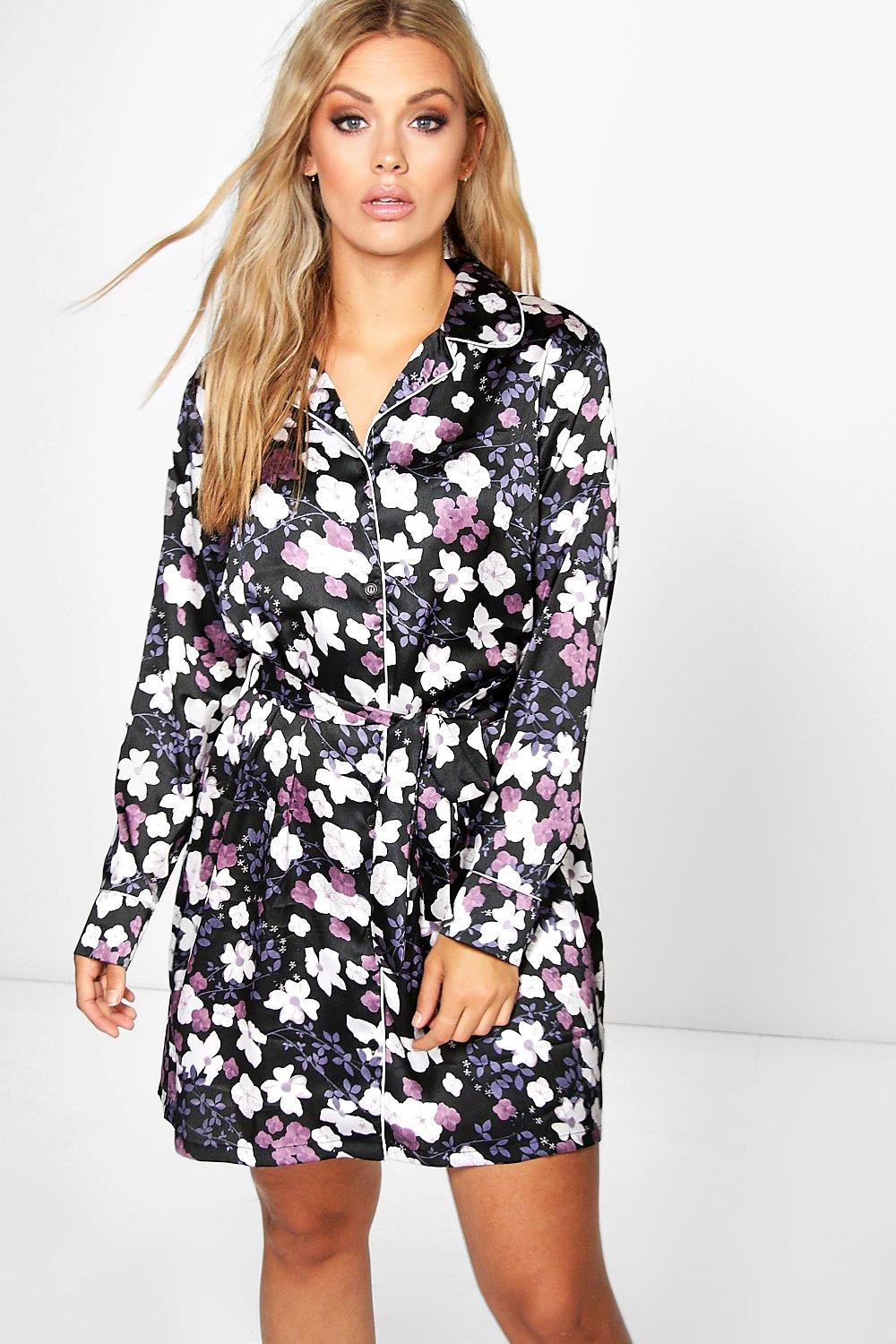 Plus Becca Floral Satin Piping Shirt Dress