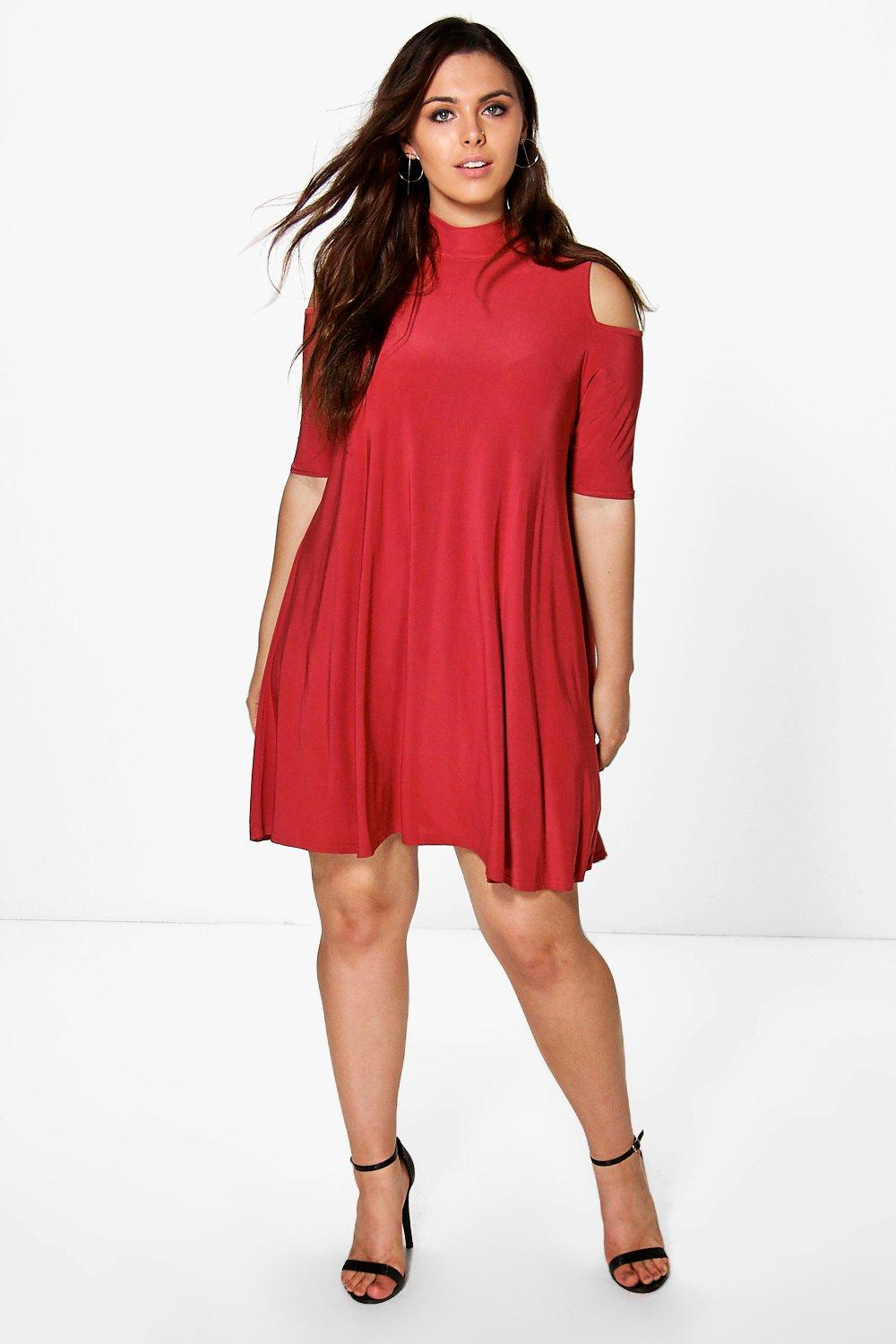 Plus jen highneck swing dress at for Boohoo dresses for weddings
