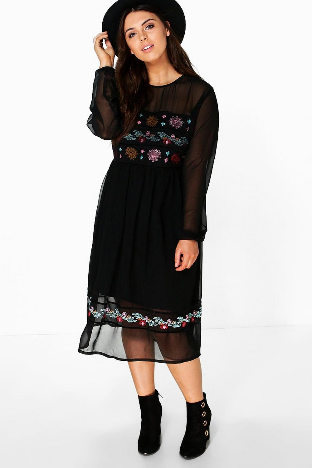 Plus Rachel Embroidered Midi Dress