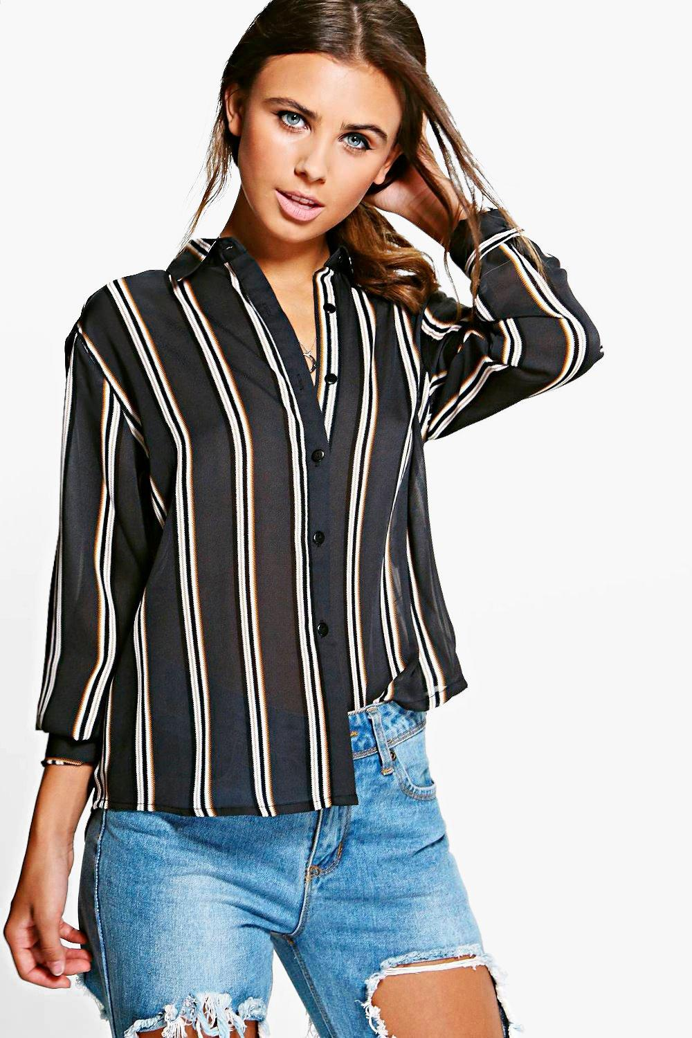 Petite Edie Striped Oversized Shirt