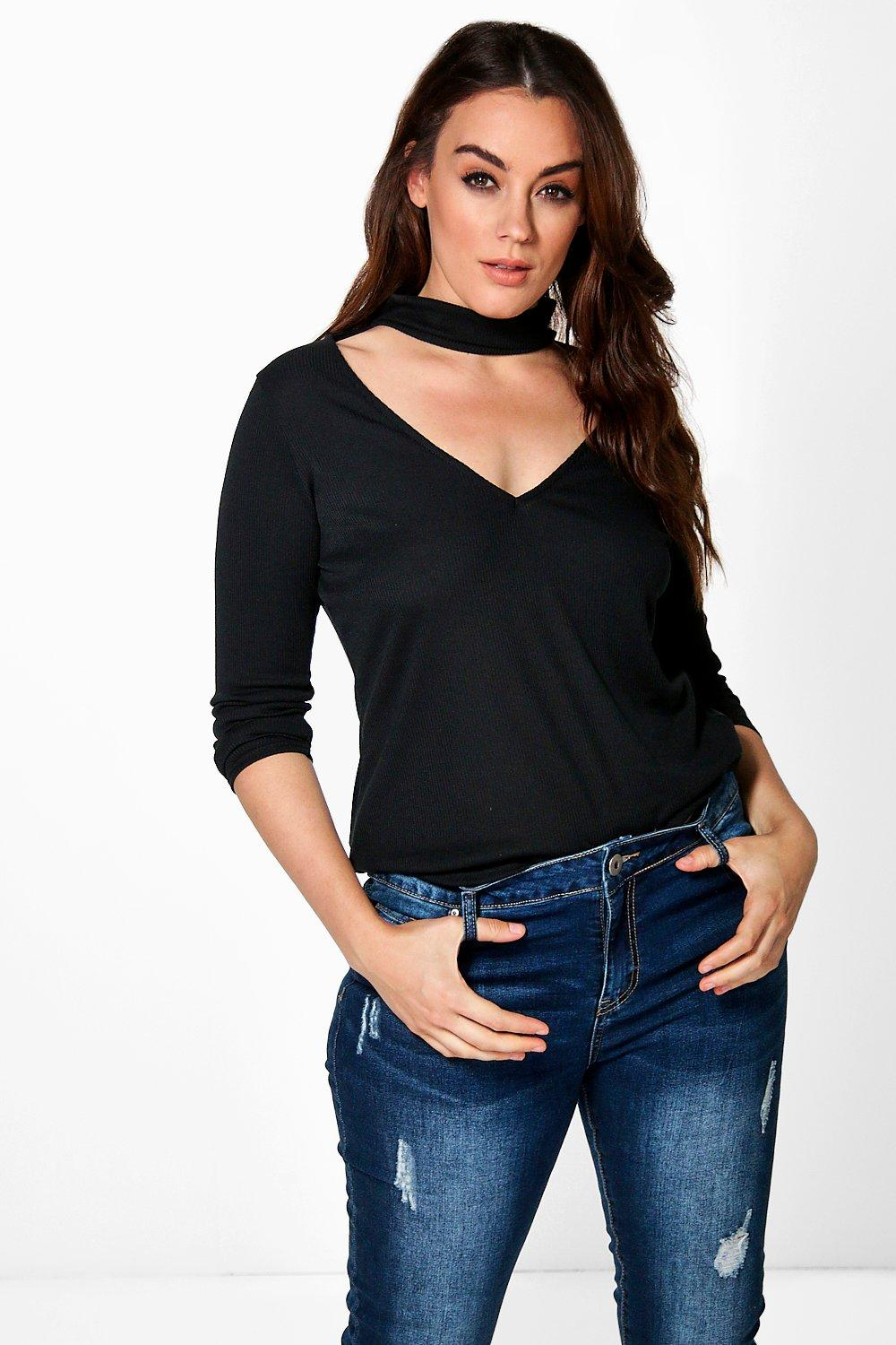 Plus Moira Cut Out High Neck Knitted Top