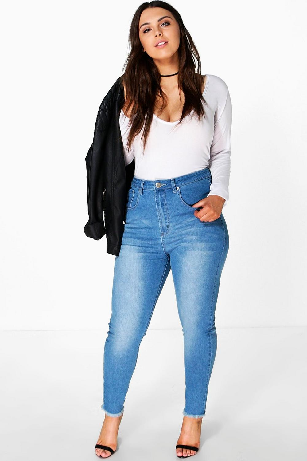 Plus Emelie High Waist Fray Hem Tube Jean