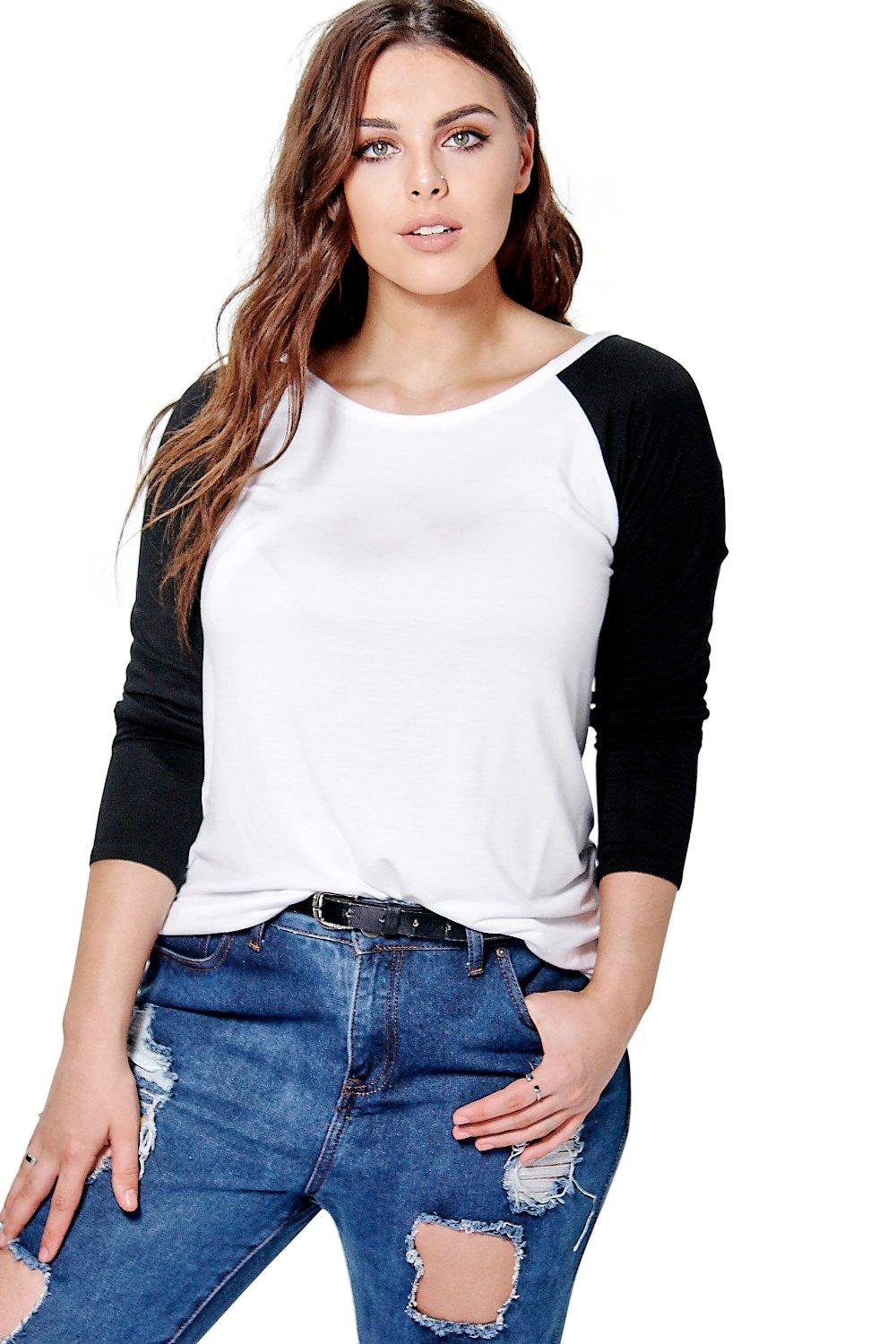 Plus Taylor Contrast Raglan Sleeve Top