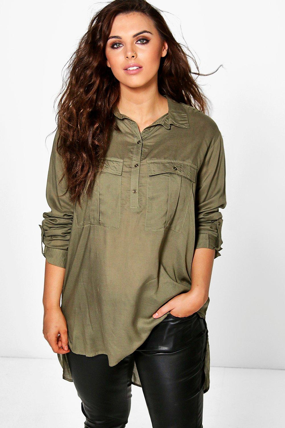 Plus Thea Half Placket Utility Shirt