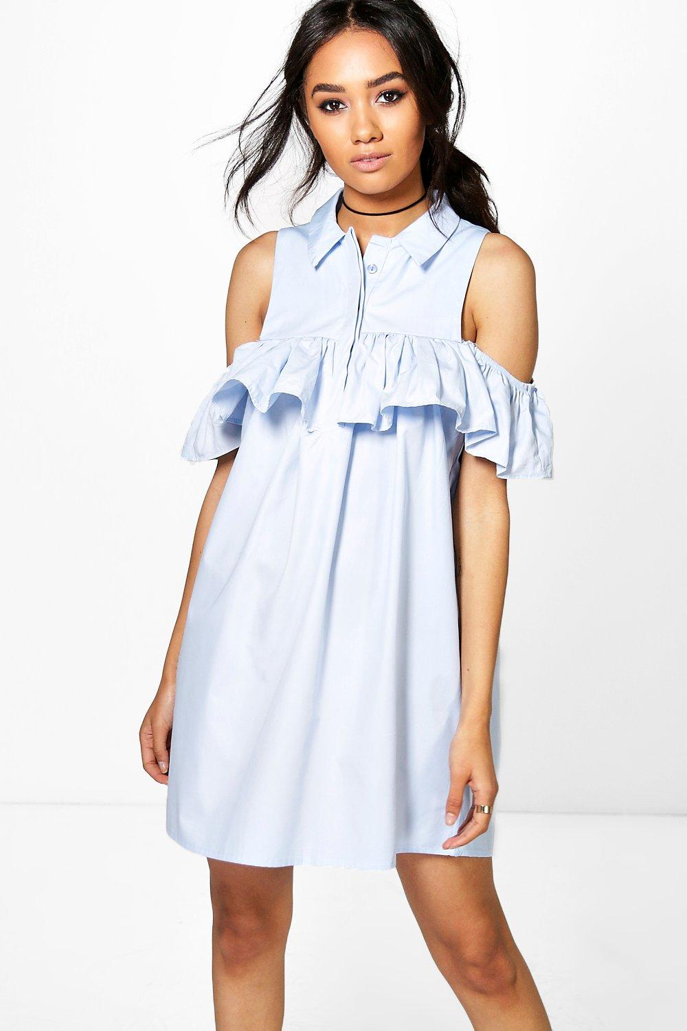 Petite Jules Open Shoulder Frill Detail Shirt Dress