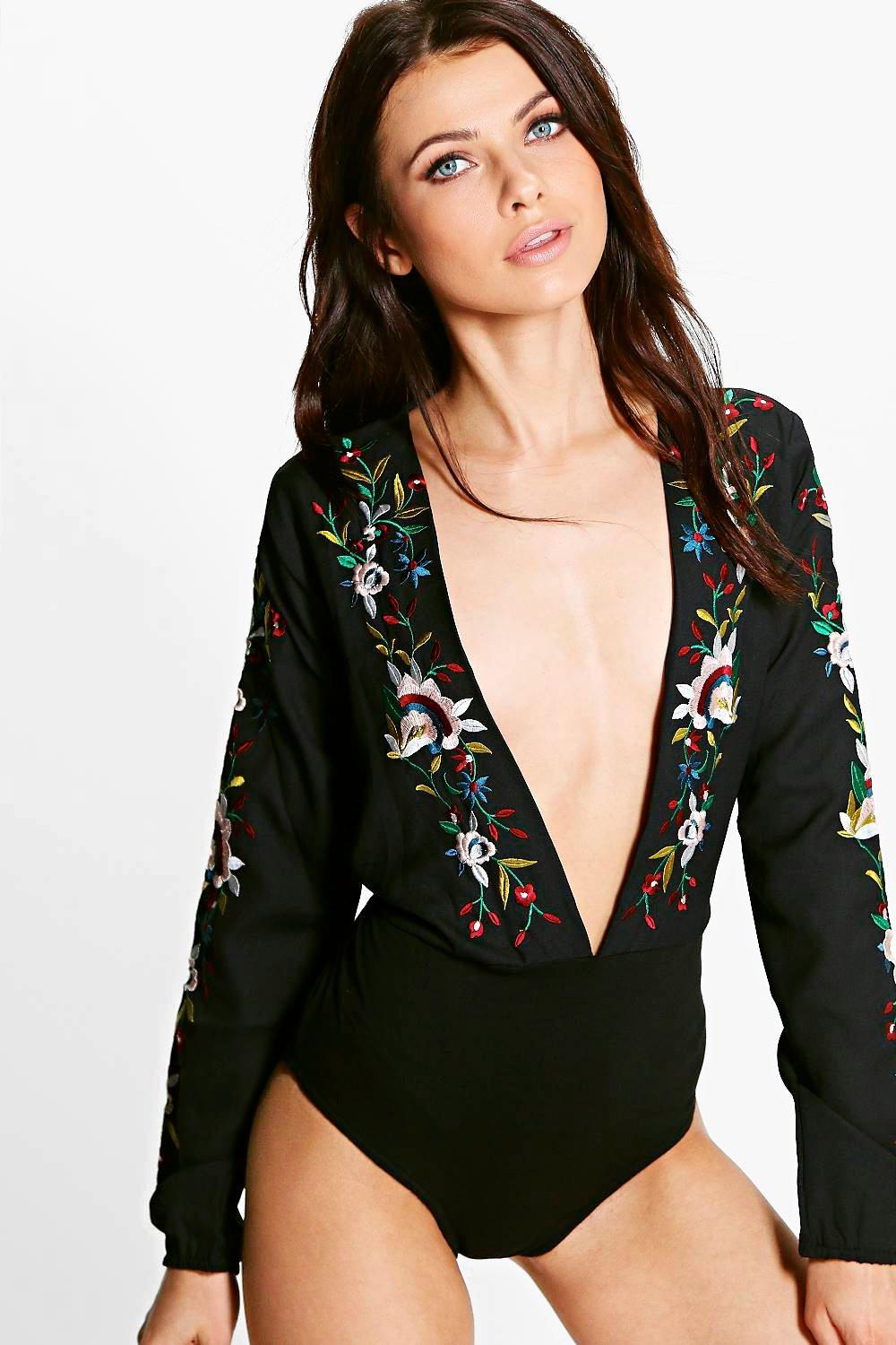 Petite Amaris Embroidered Plunge Bodysuit