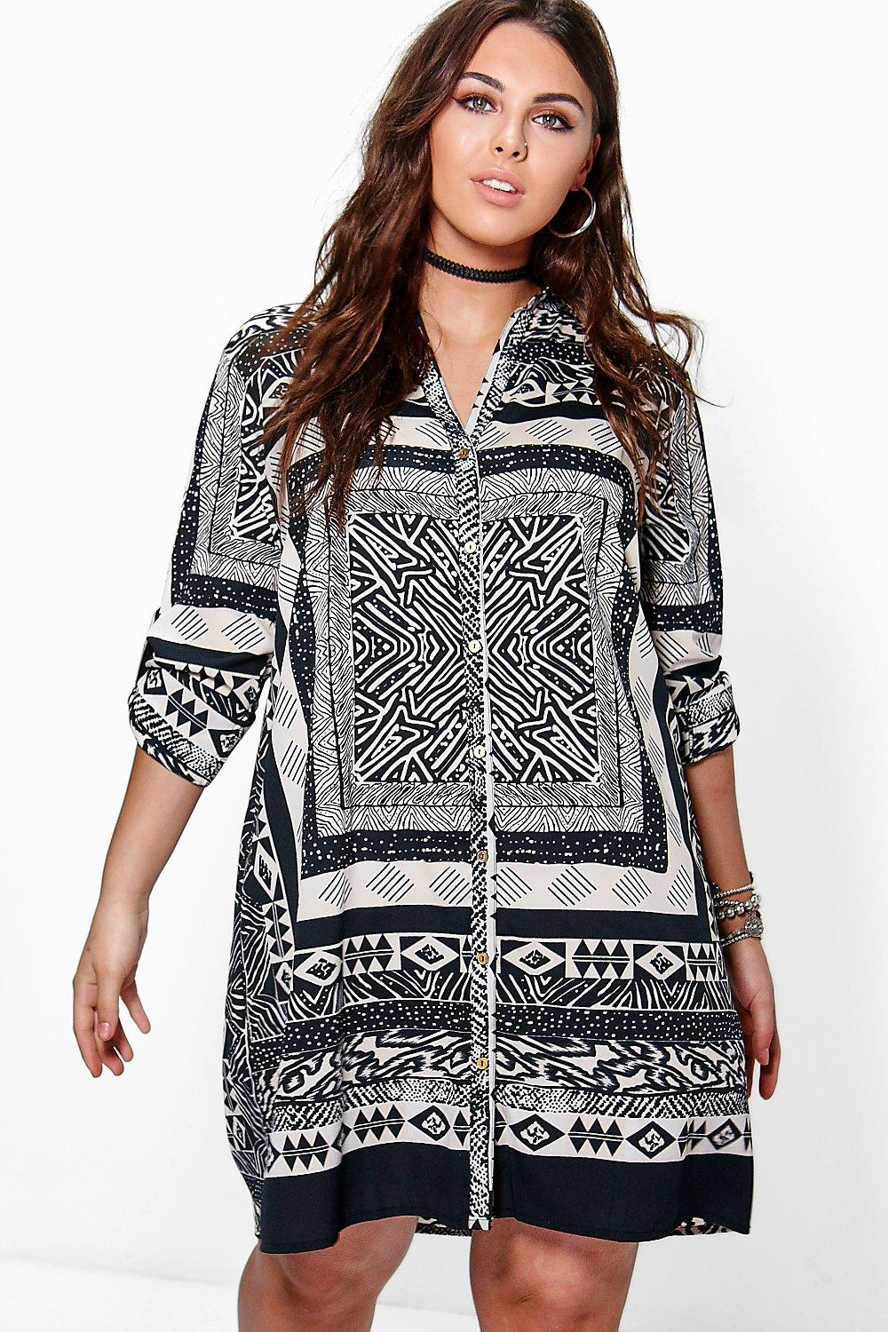Plus Micha Mono Print Shirt Dress